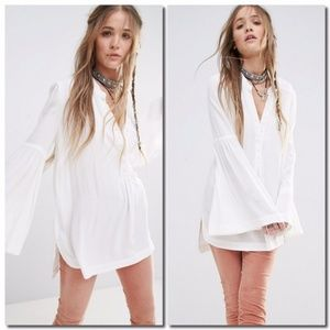 Free People easy girl tunic top dress white size L